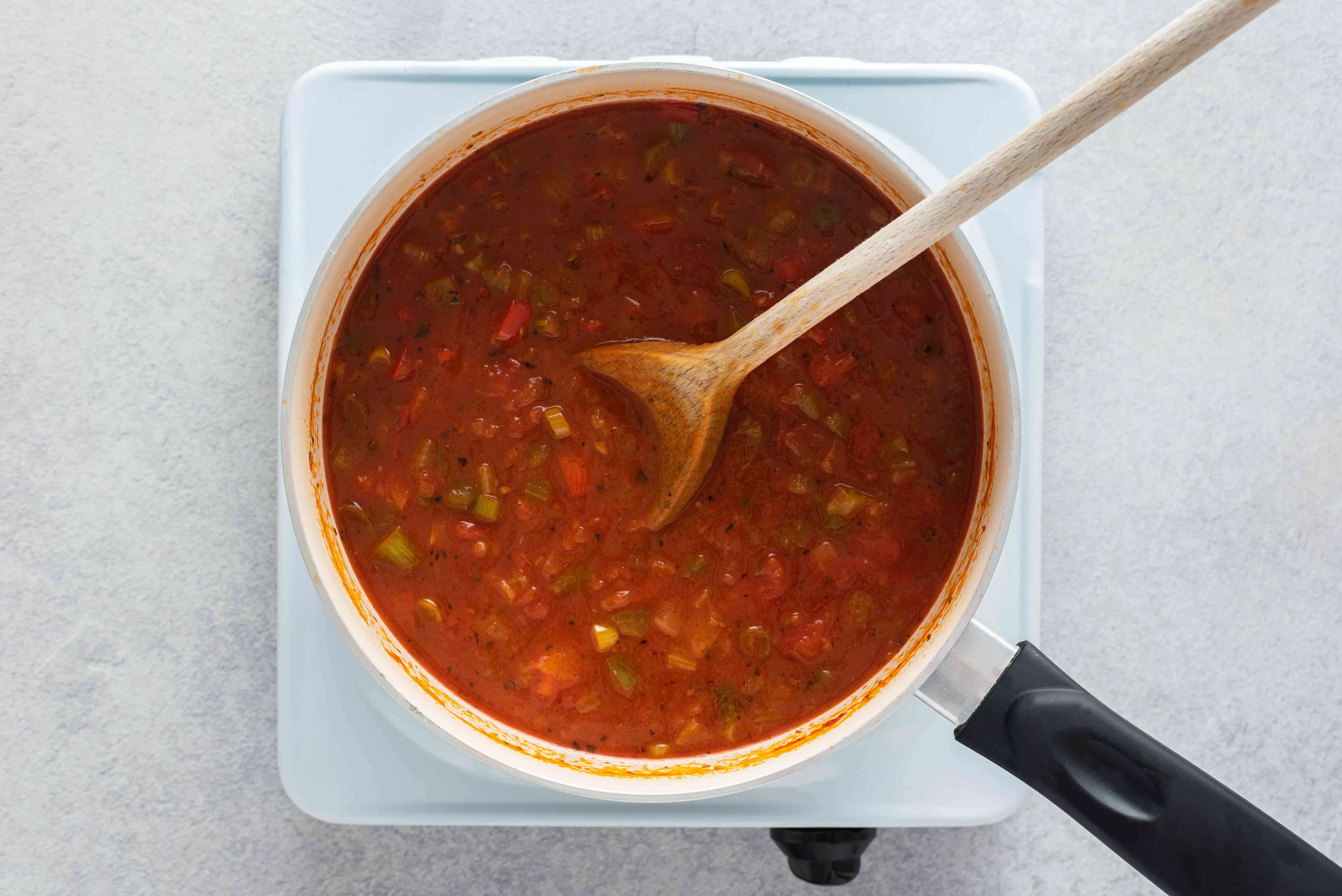 vegetable, seasoning and stock mixture in a pot