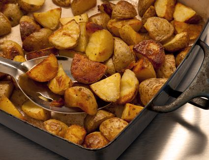 Oven roasted potatoes in a pan