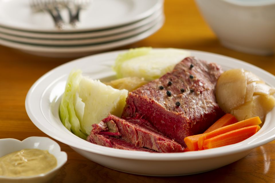Corned beef dinner in bowl.