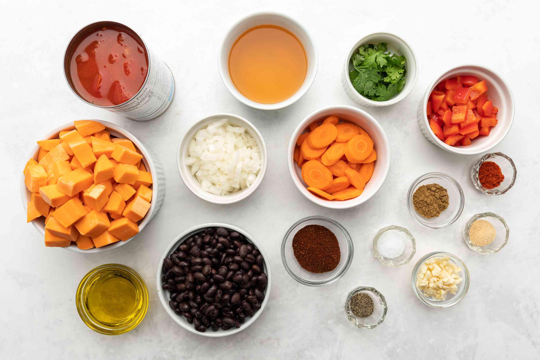 Ingredients for sweet potato black bean chili