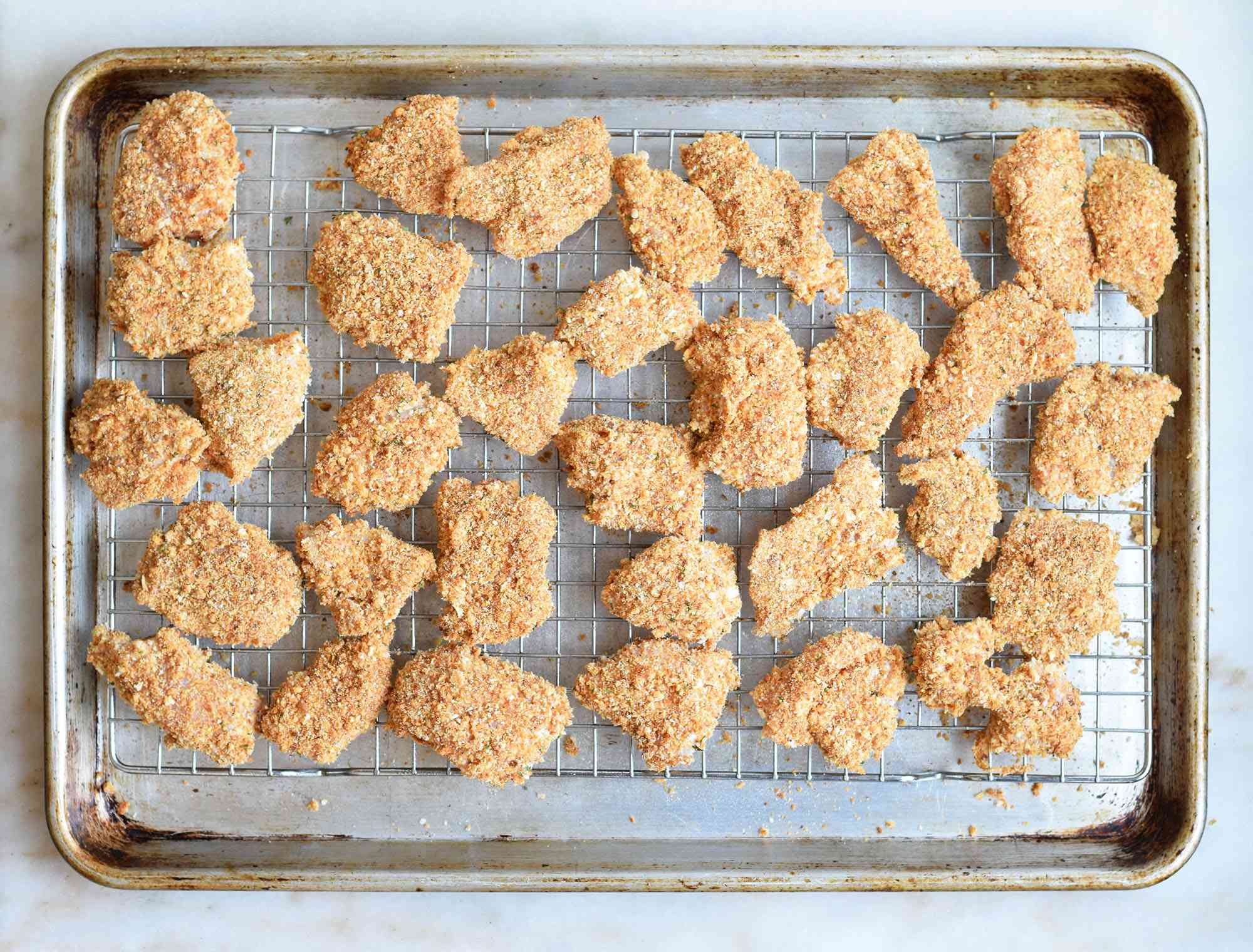 chicken nuggets on a baking rack