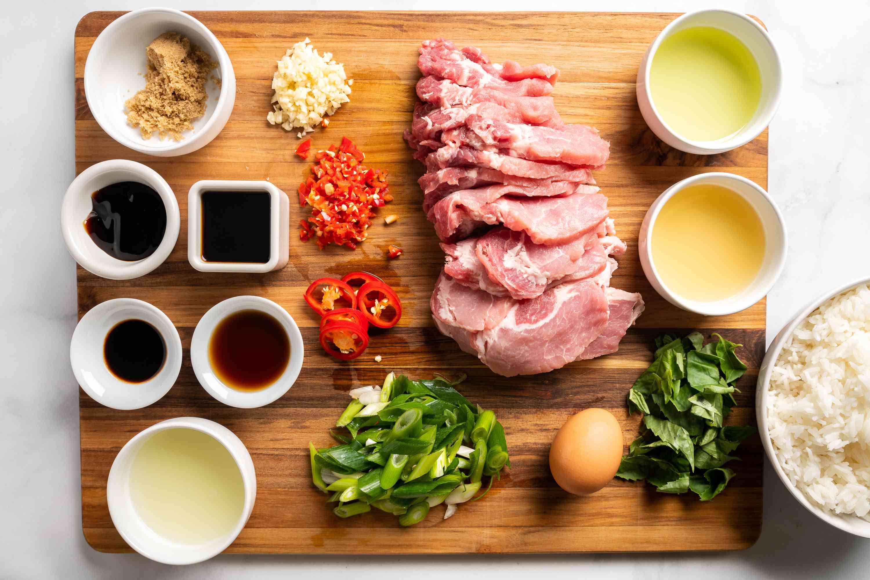 Thai basil pork ingredients