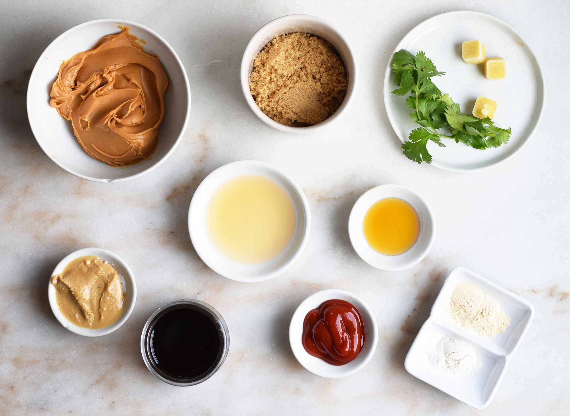 ingredients for peanut tahini dressing