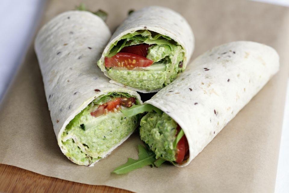 Avocado, tomato and cucumber vegan wrap