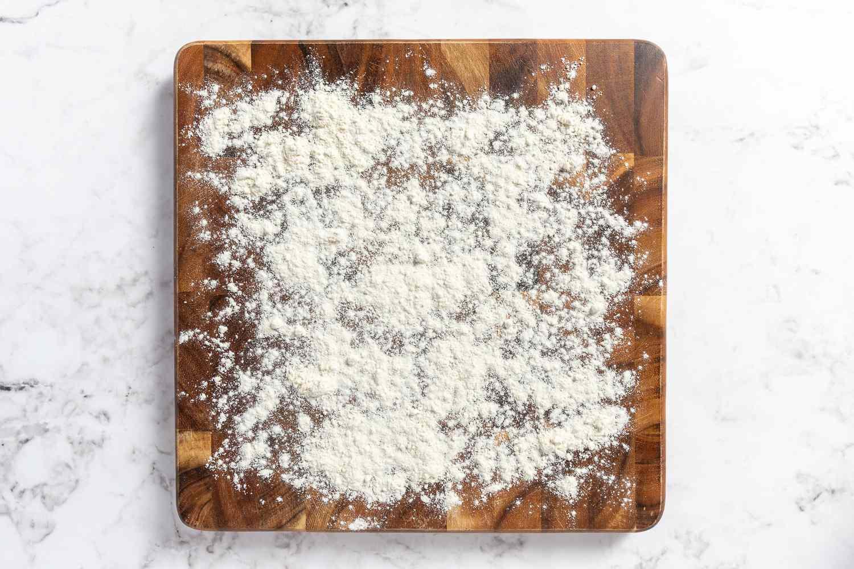 A well floured cutting board