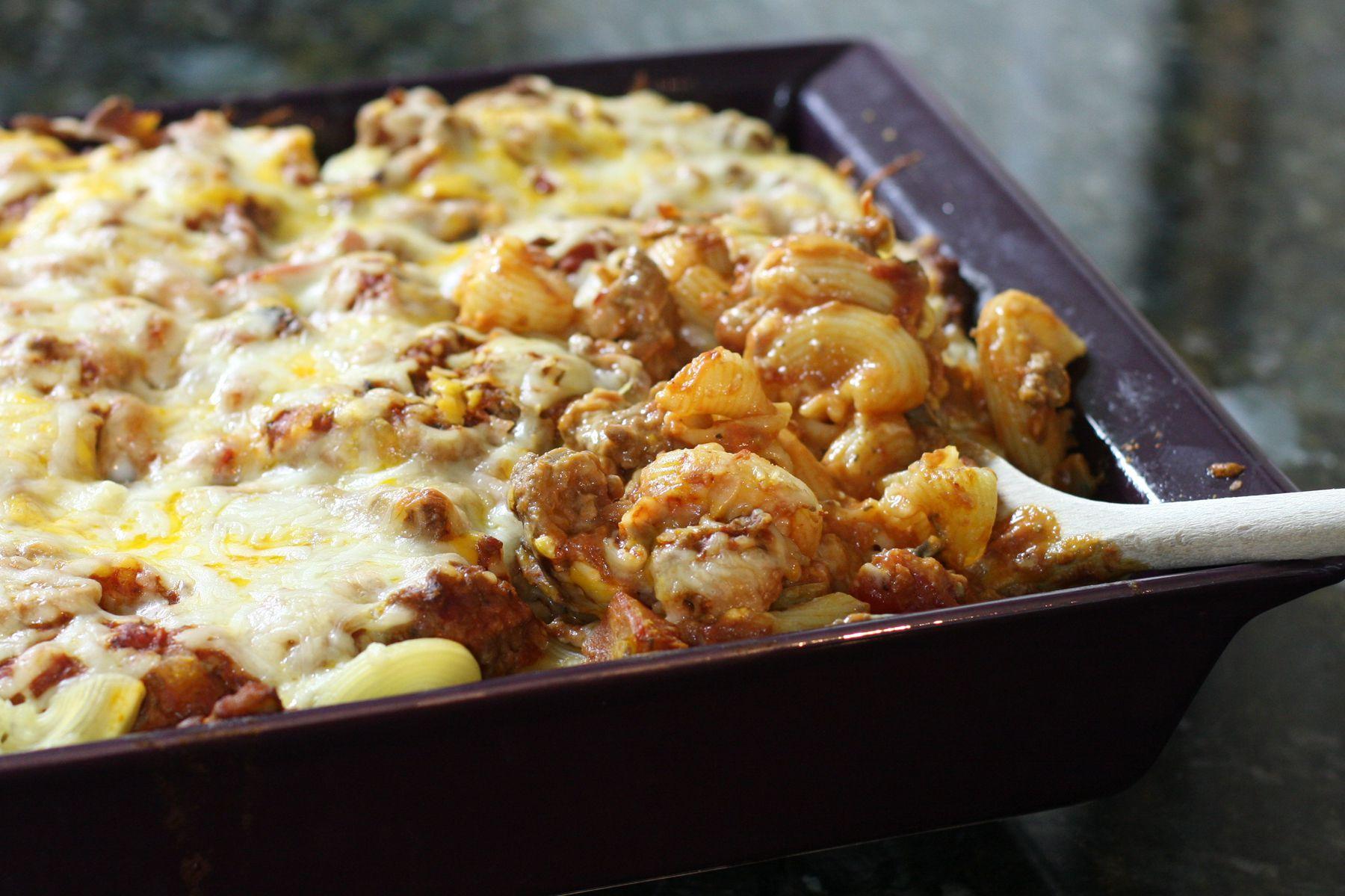 Ziti Casserole with Ground Beef and Mushrooms Recipe