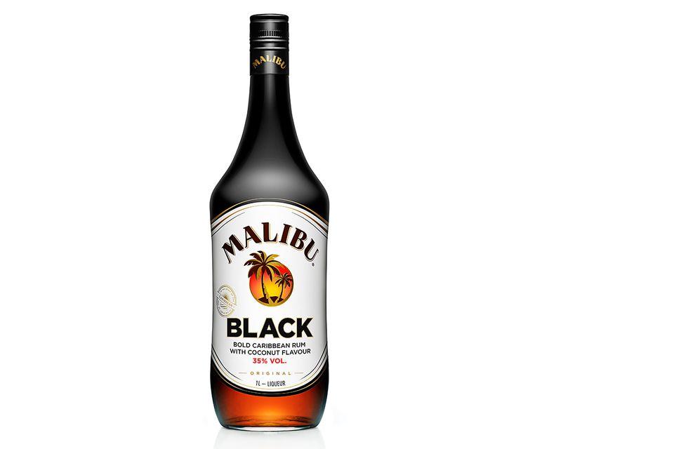 Malibu Black Rum against white background.