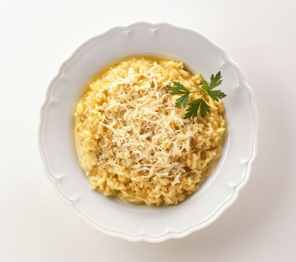 Risotto alla milanese made with rice, saffron and parmesan cheese