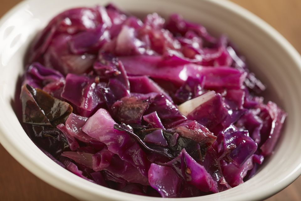 Cooked red cabbage side in a bowl