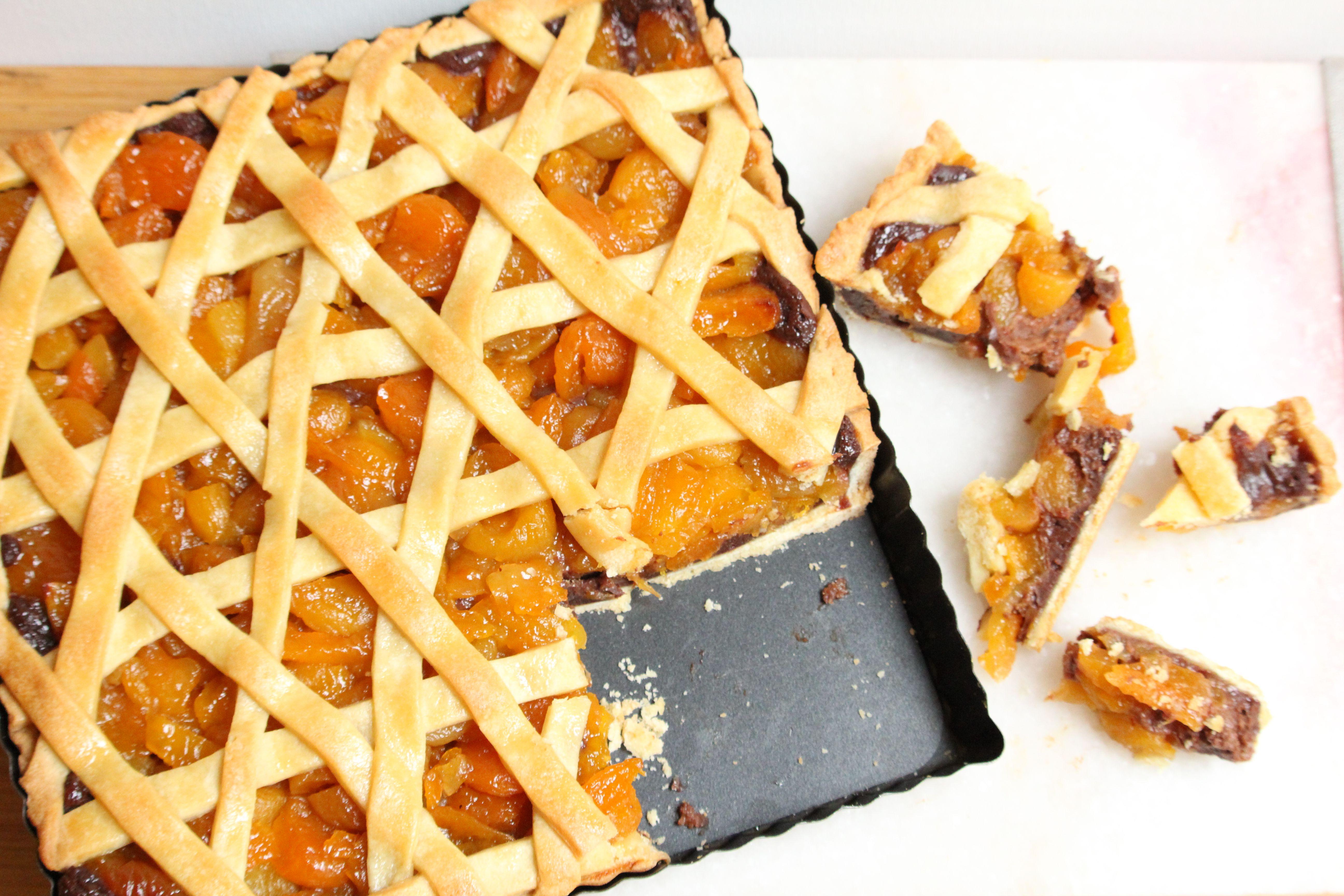 Apricot and Chocolate Tahini Ganache Tart