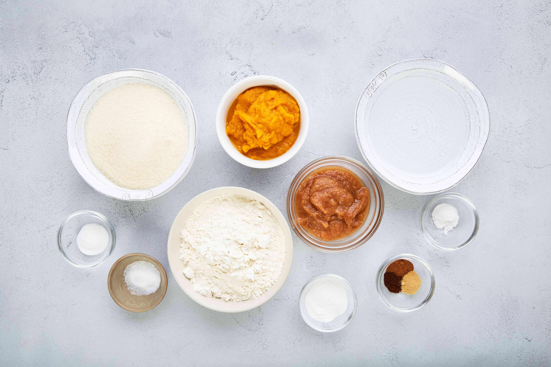 Ingredients for fat free vegan pumpkin bread recipe
