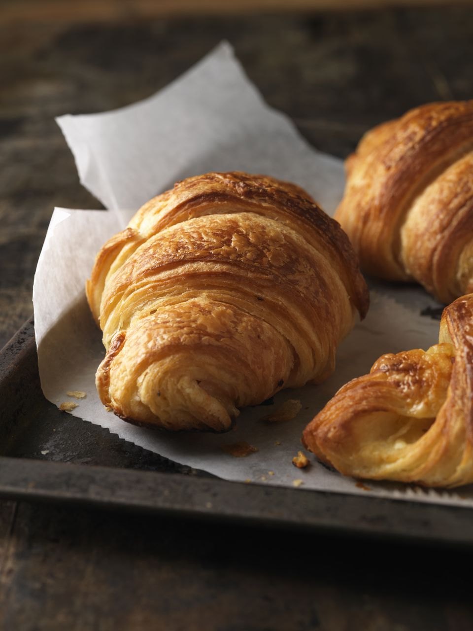 Close up of croissants on tray