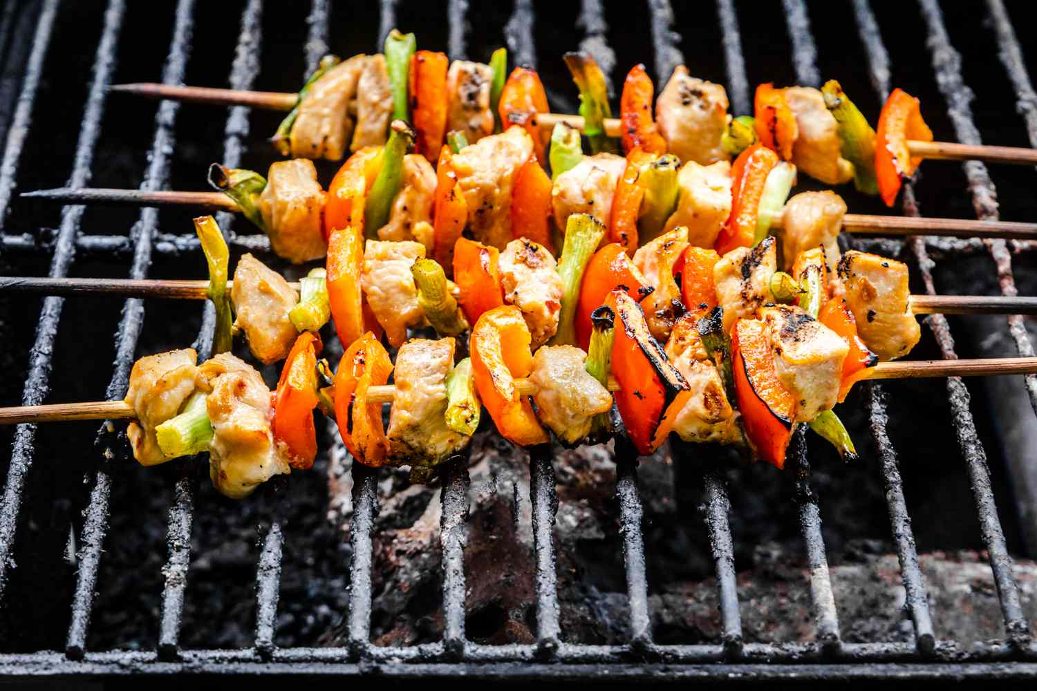 Chicken Kabobs for Kids cooking on the grill