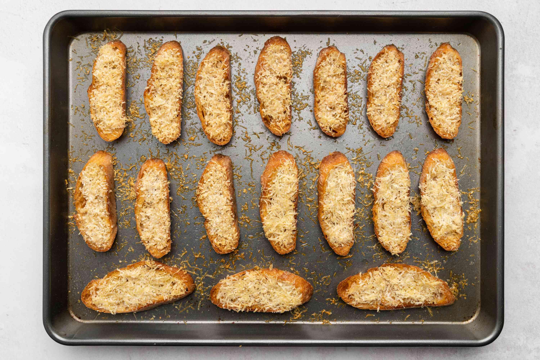 Parmesan Crostini Crisps on a baking sheet
