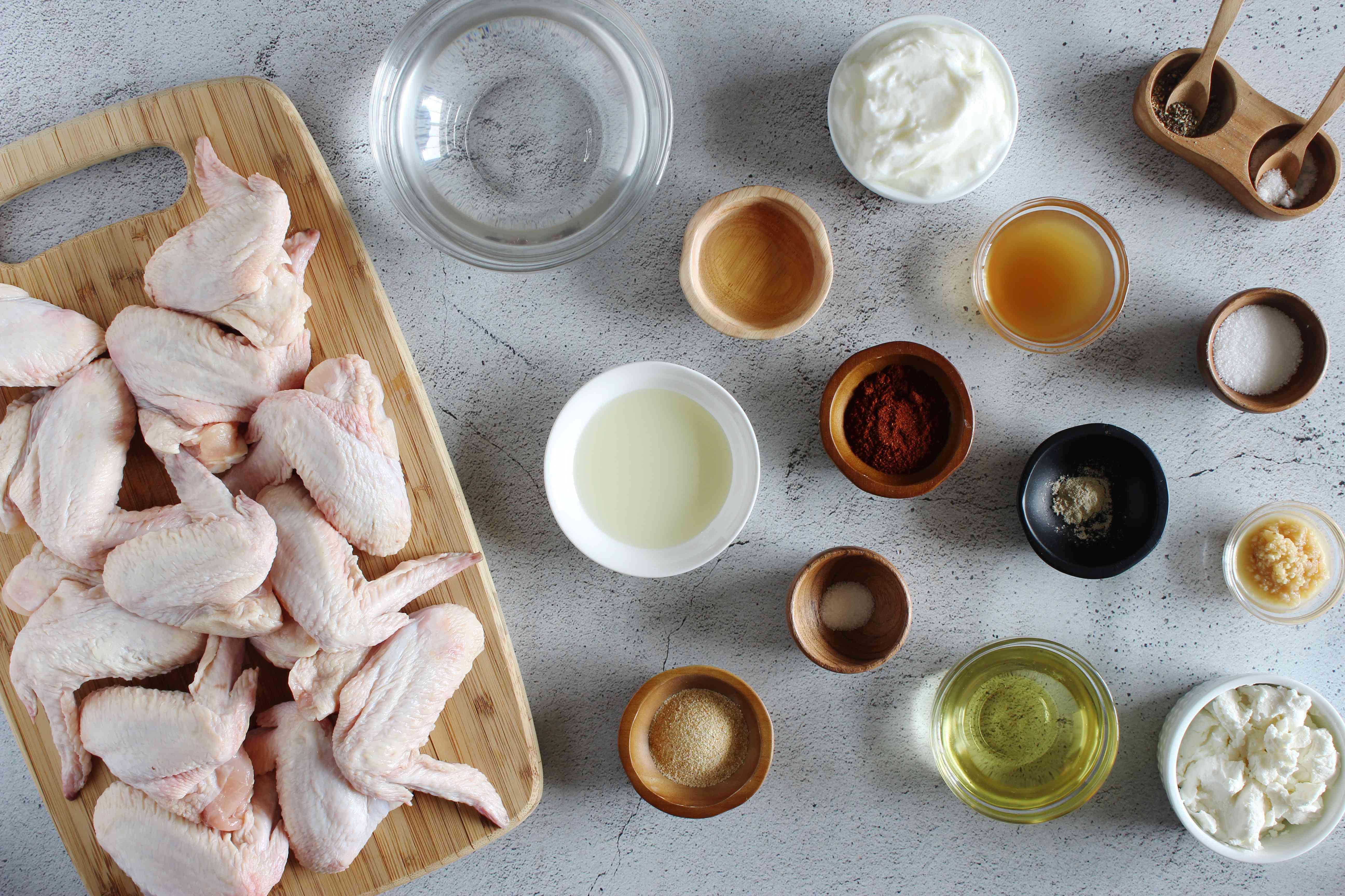 Ingredients for salt and vinegar wings