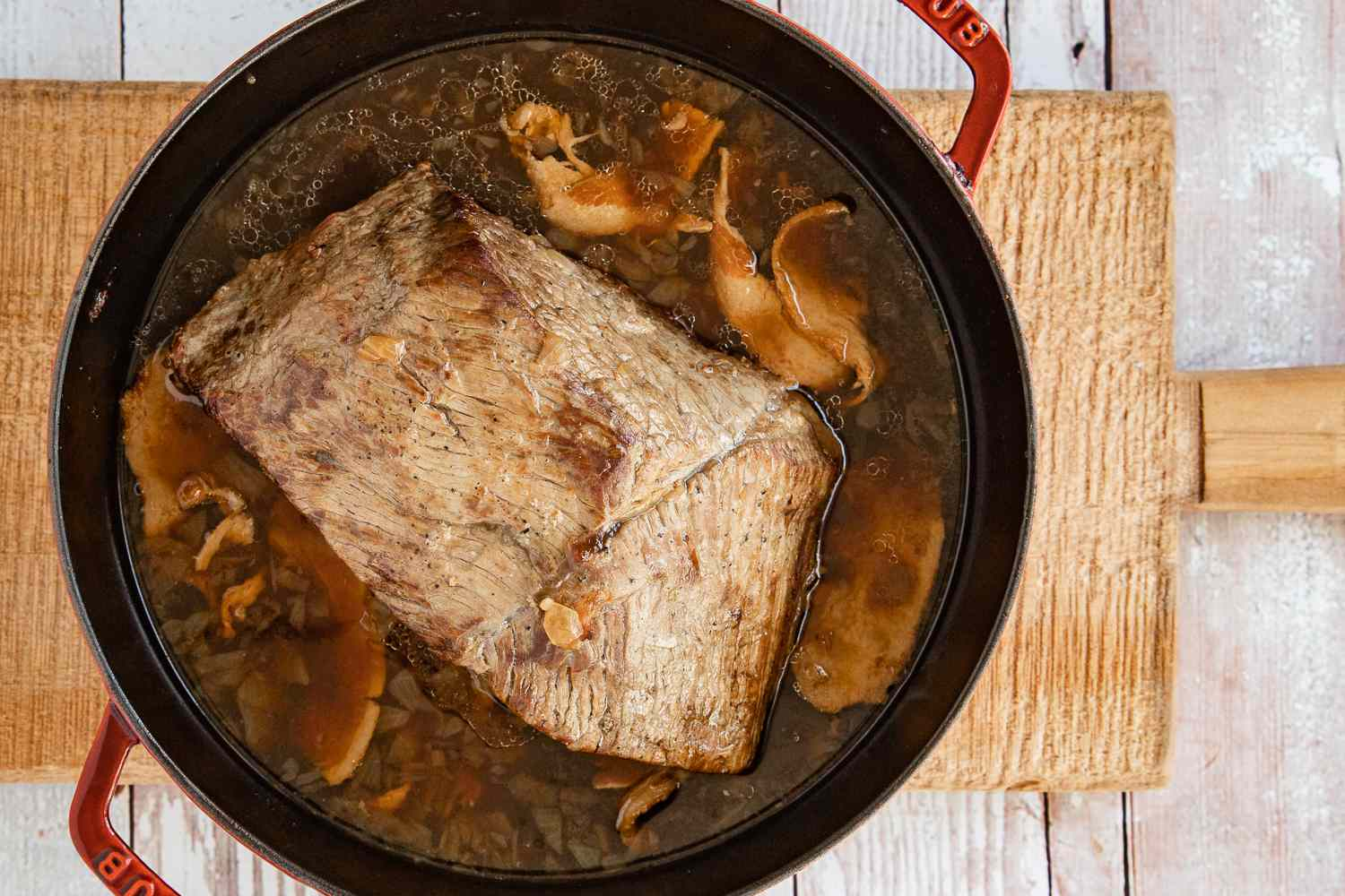 pot roast cooking in a Dutch oven