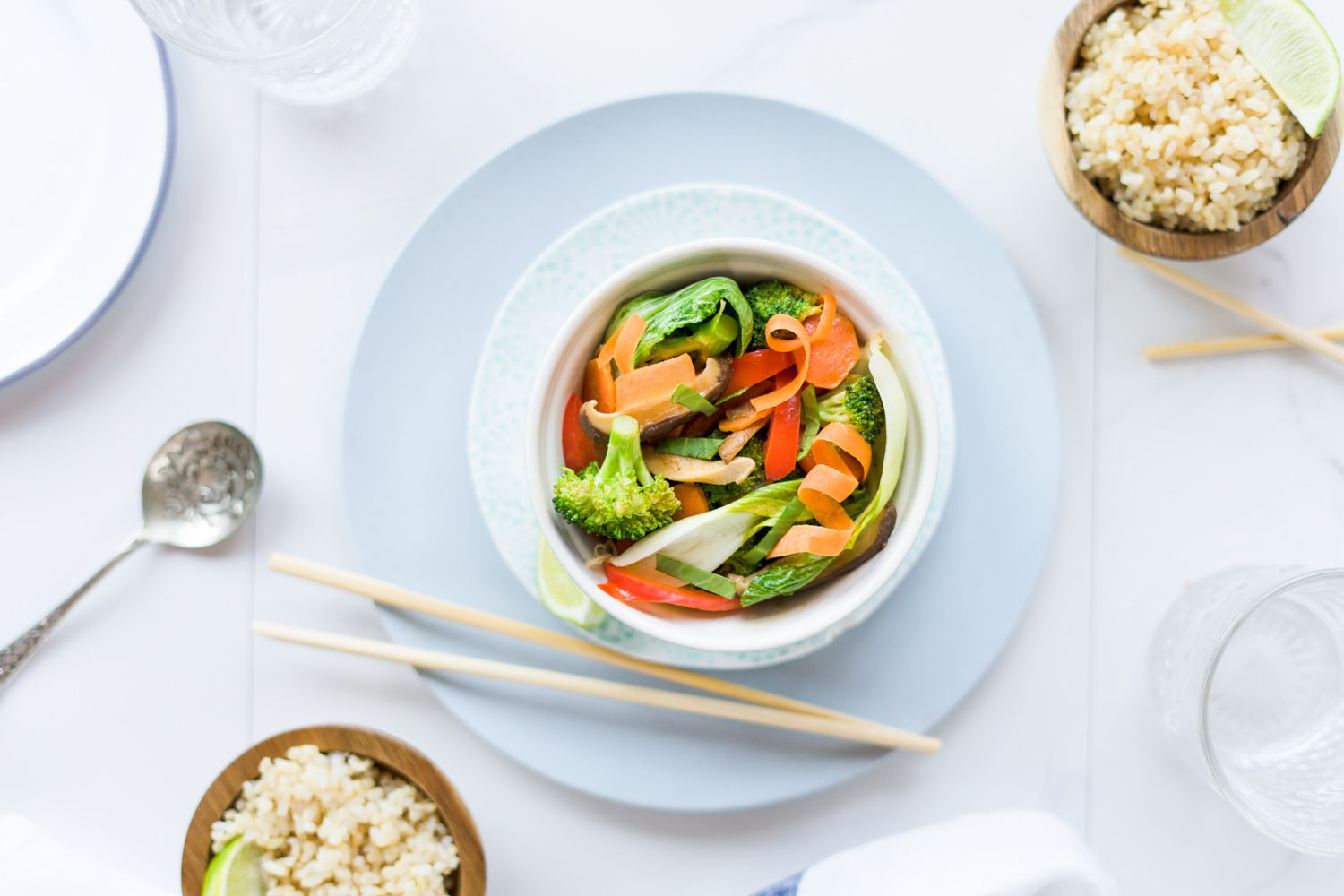 Stir fried vegetables and rice with chopsticks