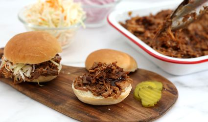 Instant Pot pulled pork on buns with all the