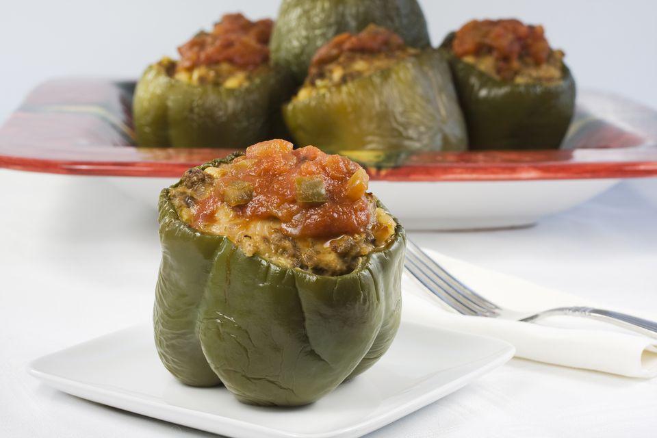 A plated stuffed pepper