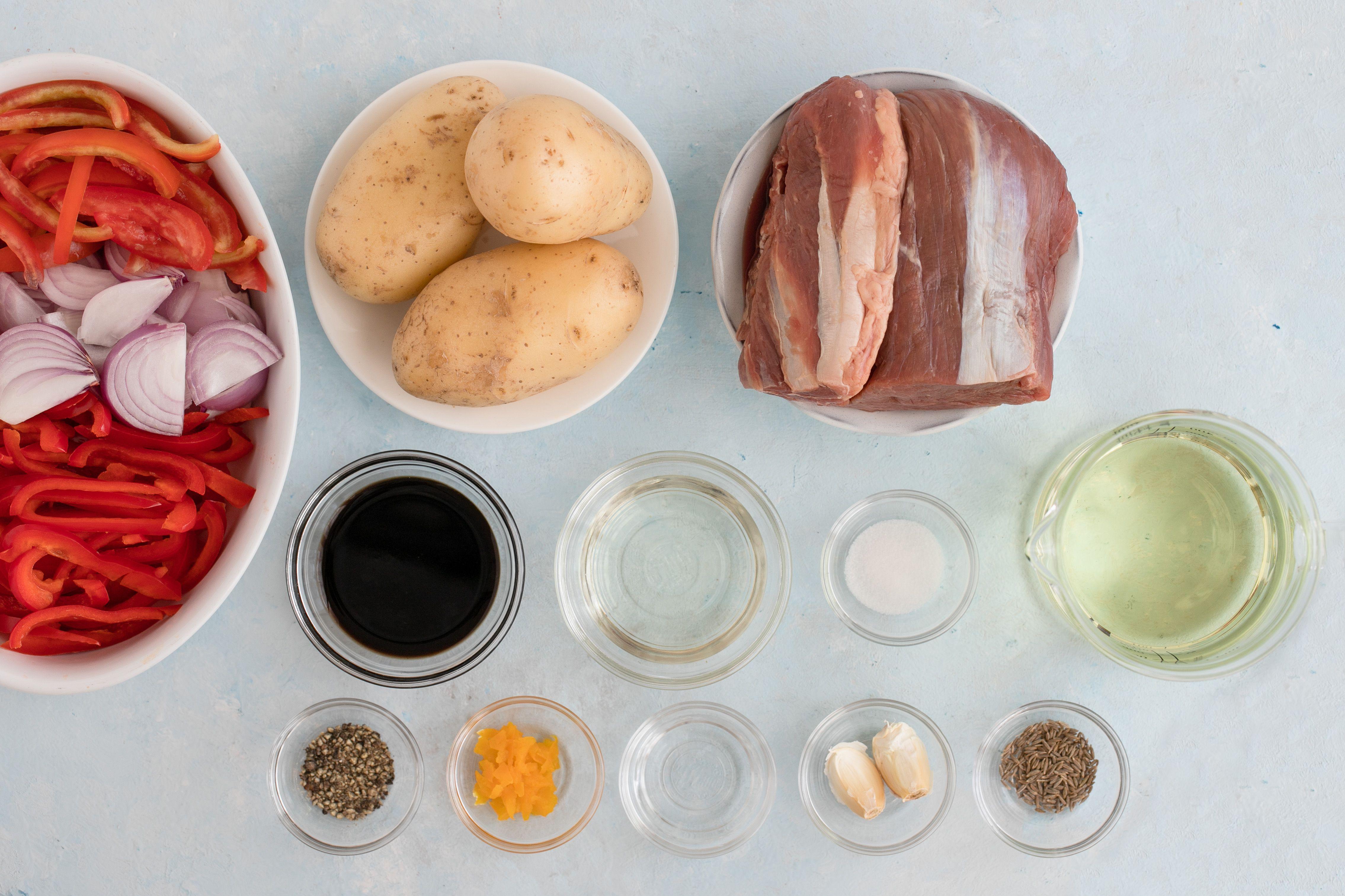 Ingredients for lomo saltado stir fried beef potatoes