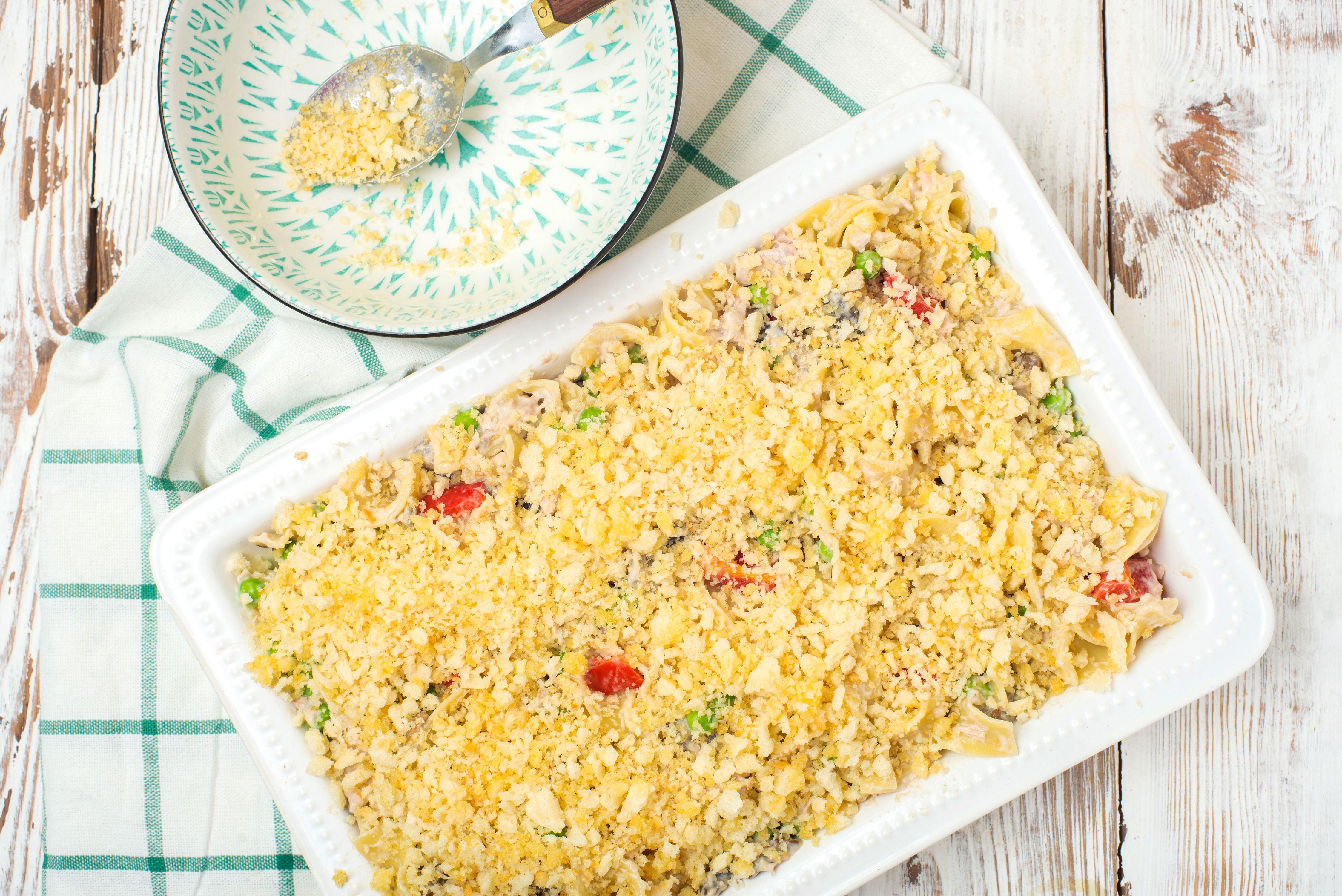 Cover tuna casserole with breadcrumbs