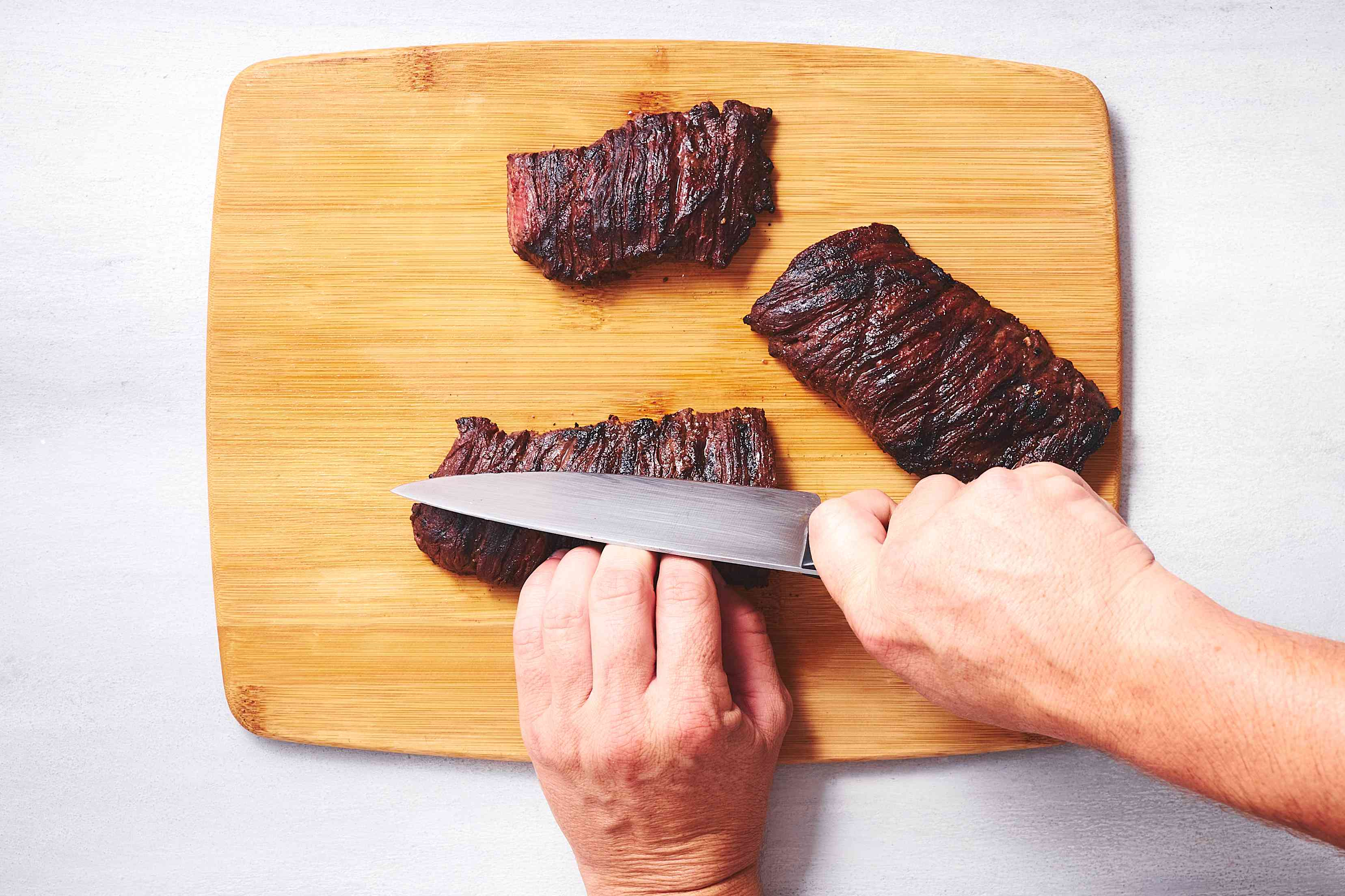Slice meat into strips against the grain