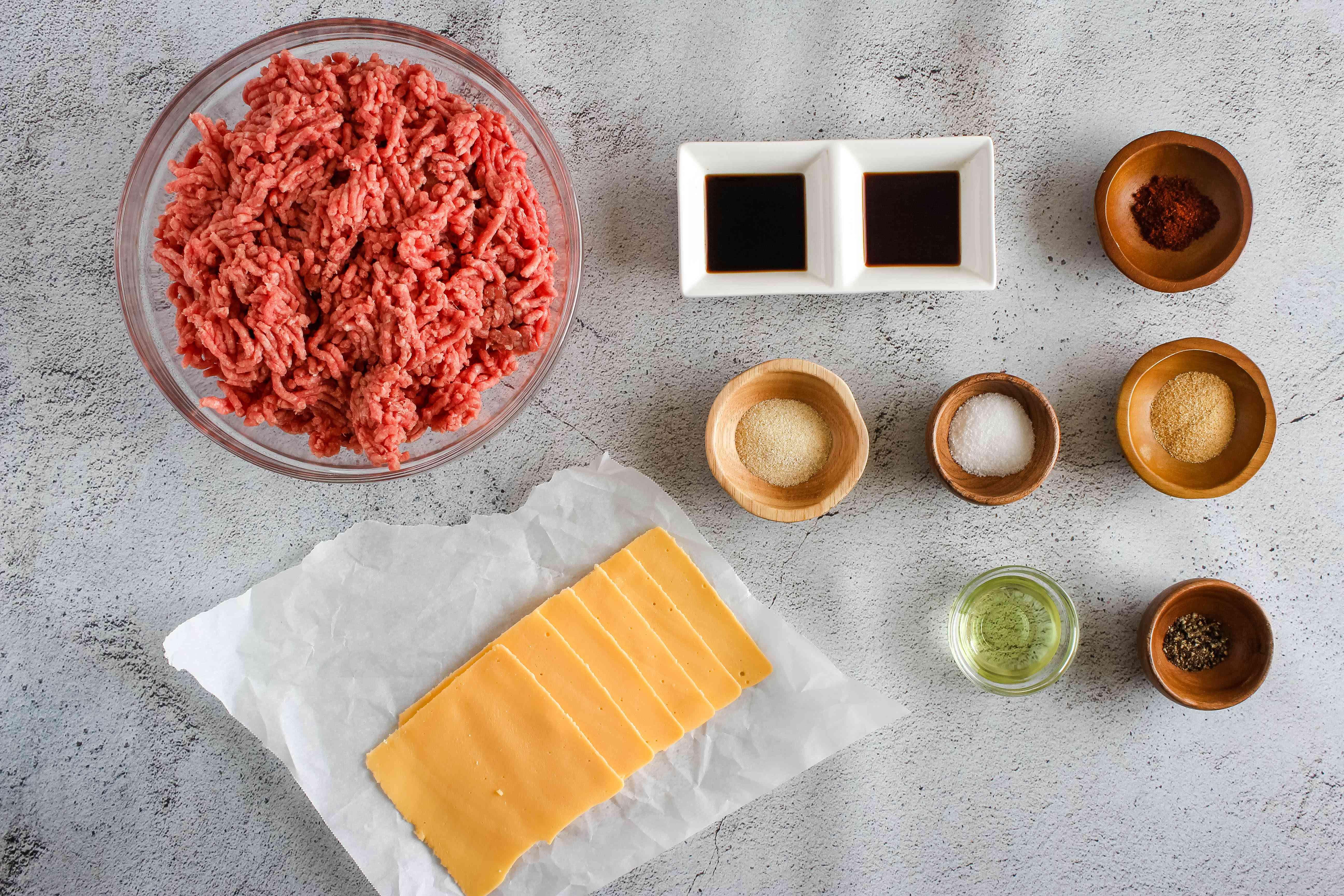 Ingredients for garlic burger