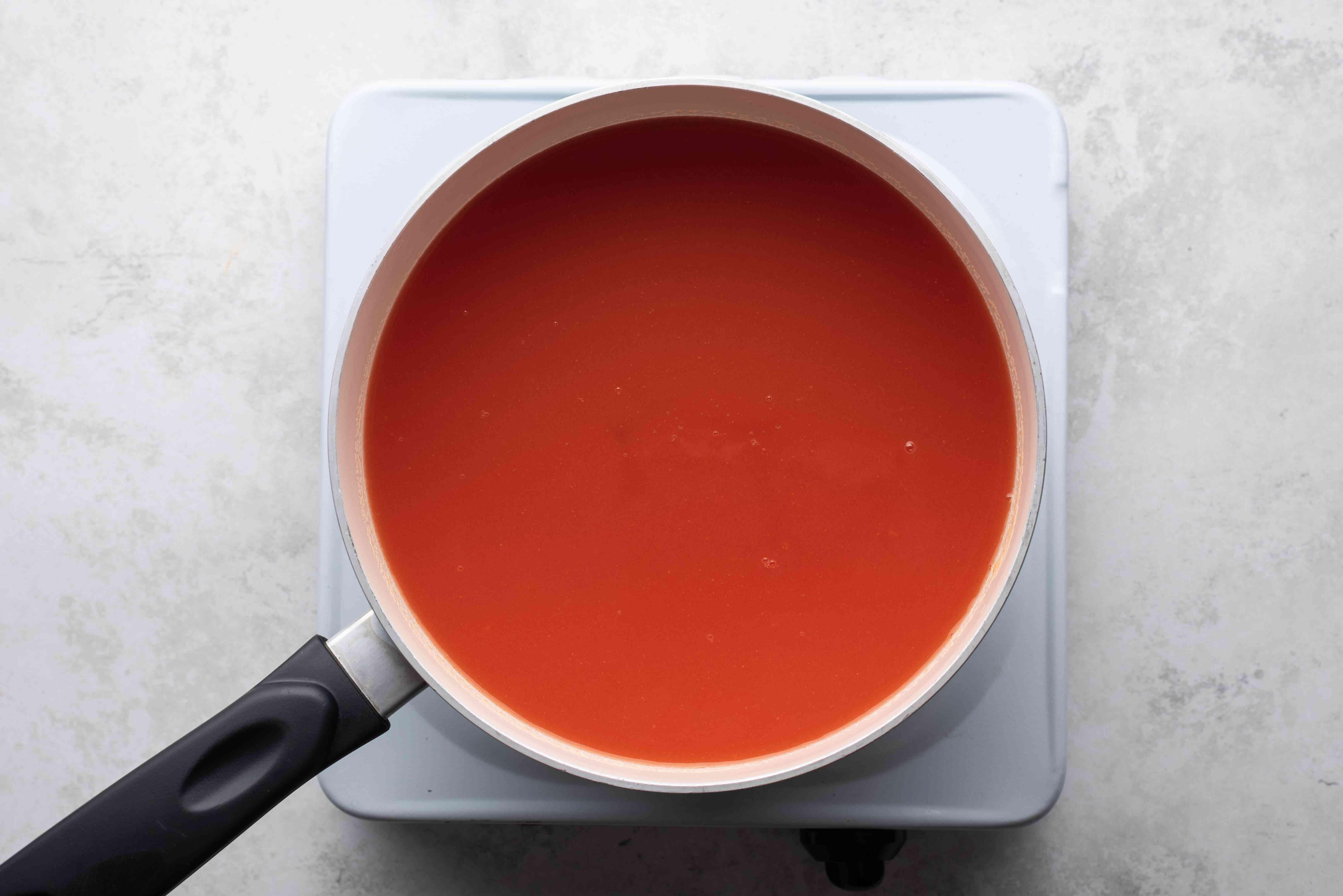 tomato juice in a saucepan