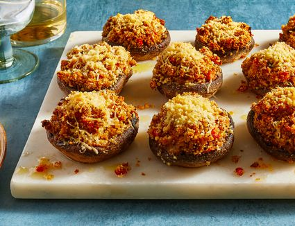 Crab-Stuffed Mushrooms With Parmesan Cheese