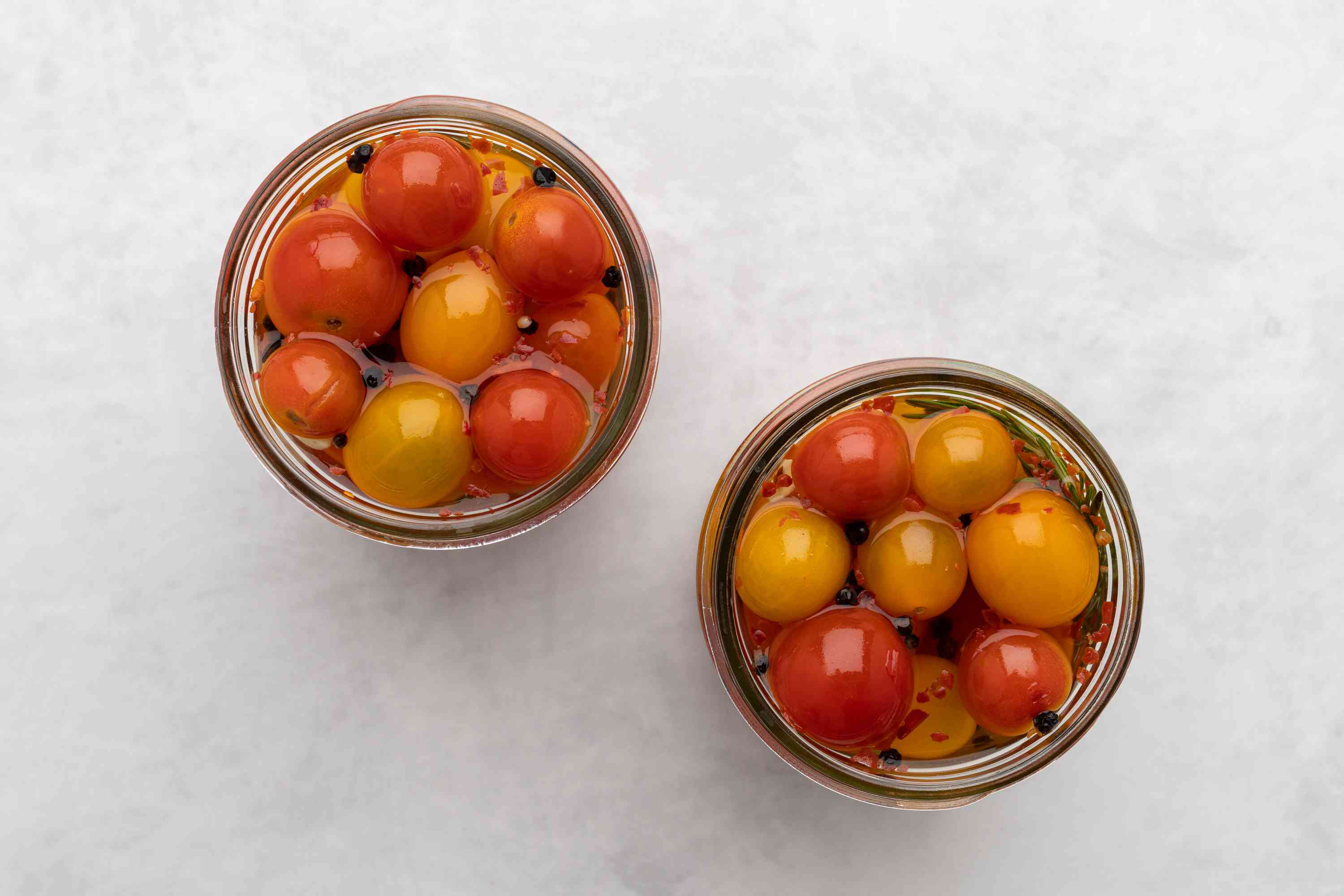 Pickled Cherry Tomatoes in jars