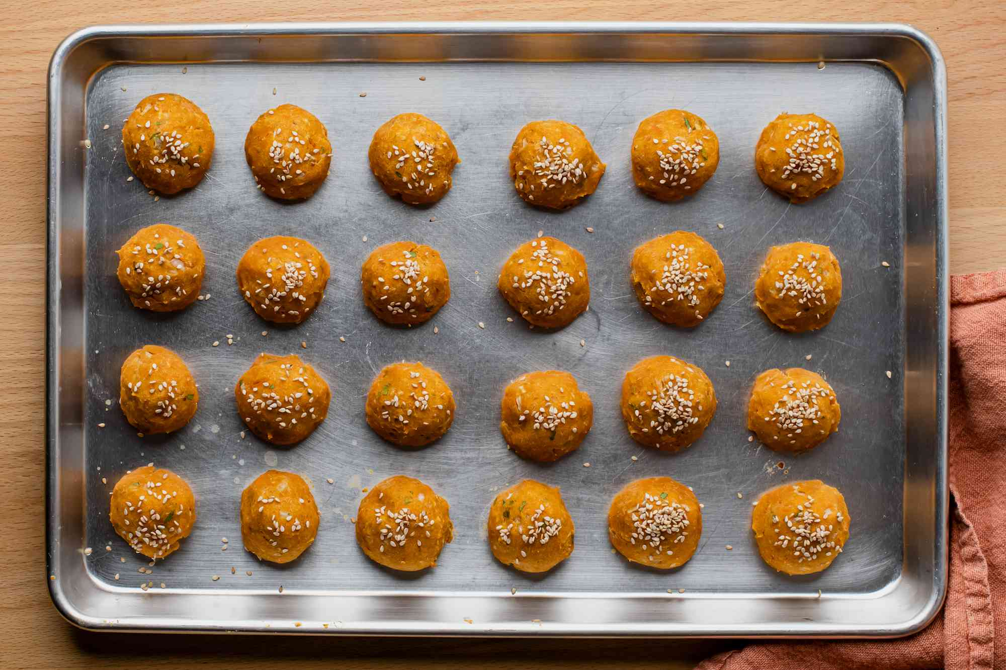 Remove chilled falafel balls