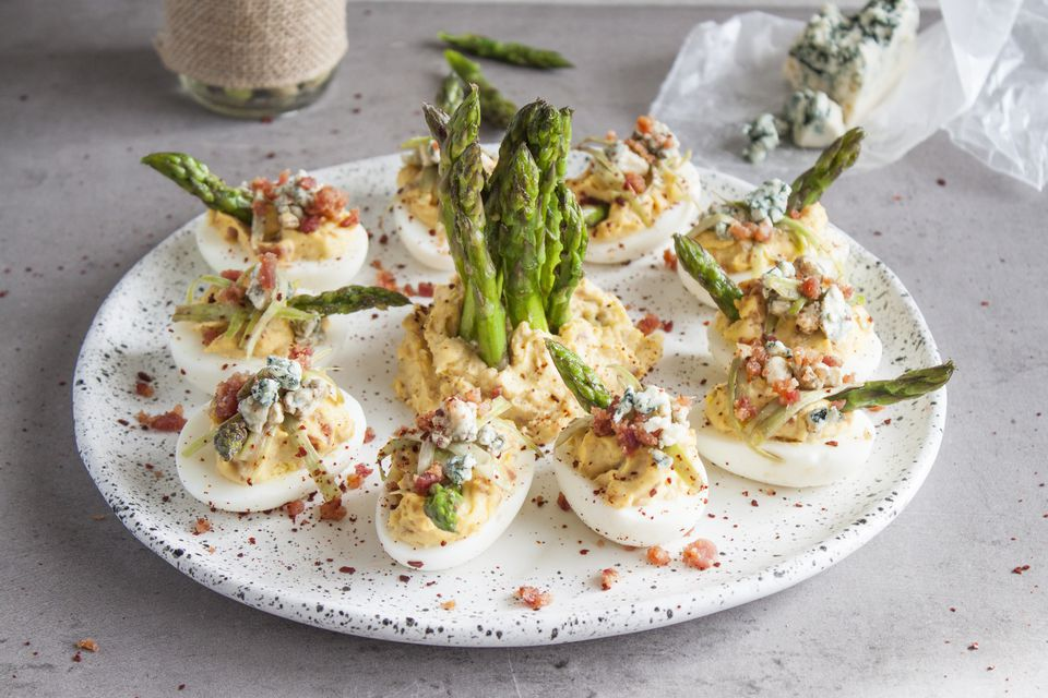 Deviled Eggs With Bacon, Garlic, Blue Cheese, and Asparagus