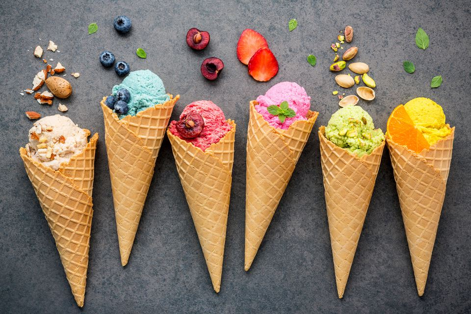 Directly Above Shot Of Ice Creams And Fruits