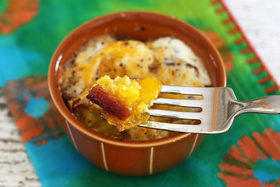 Egg, bacon, and cornbread bake
