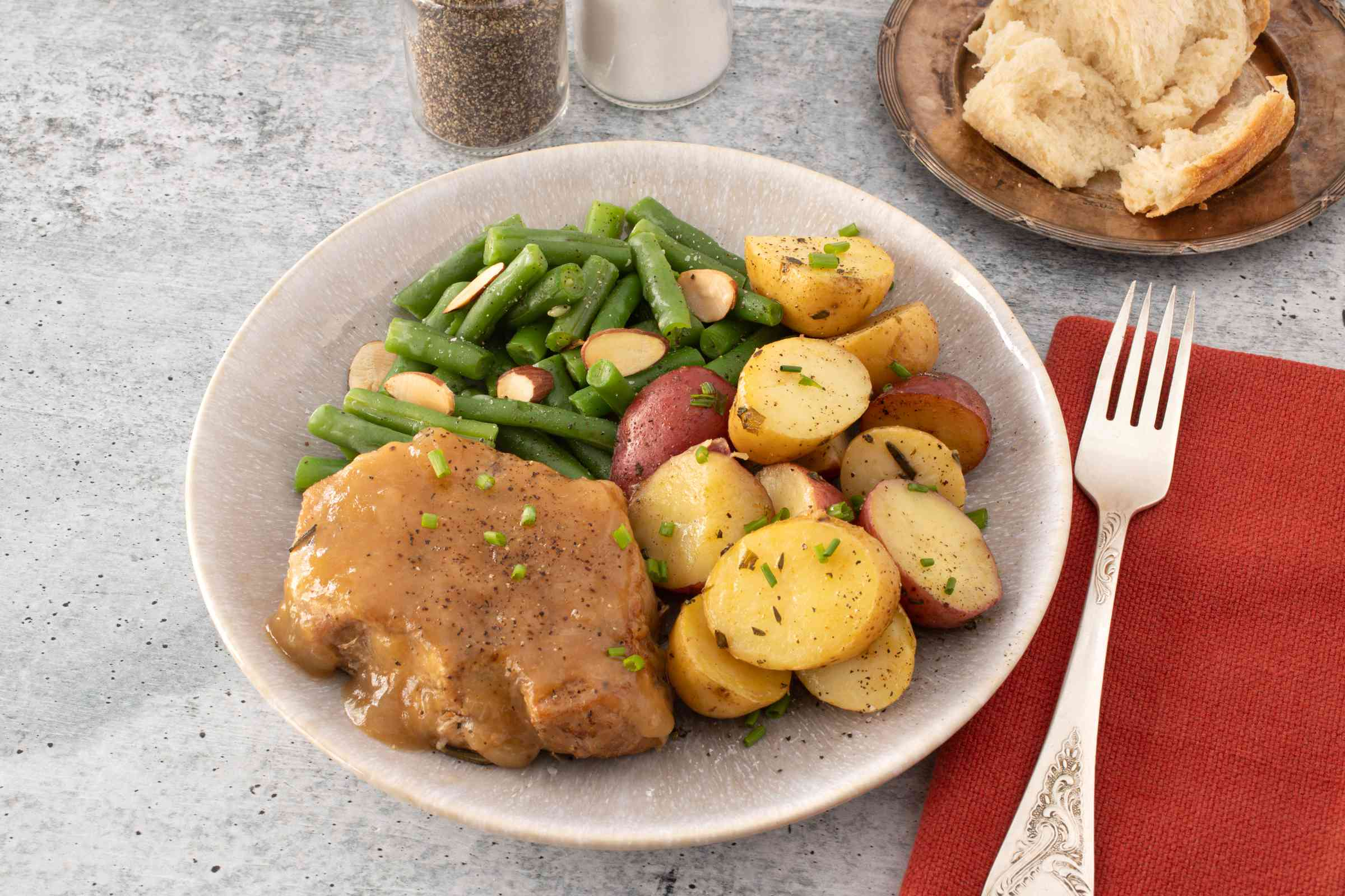 Serving of Instant Pot pork chops with potatoes