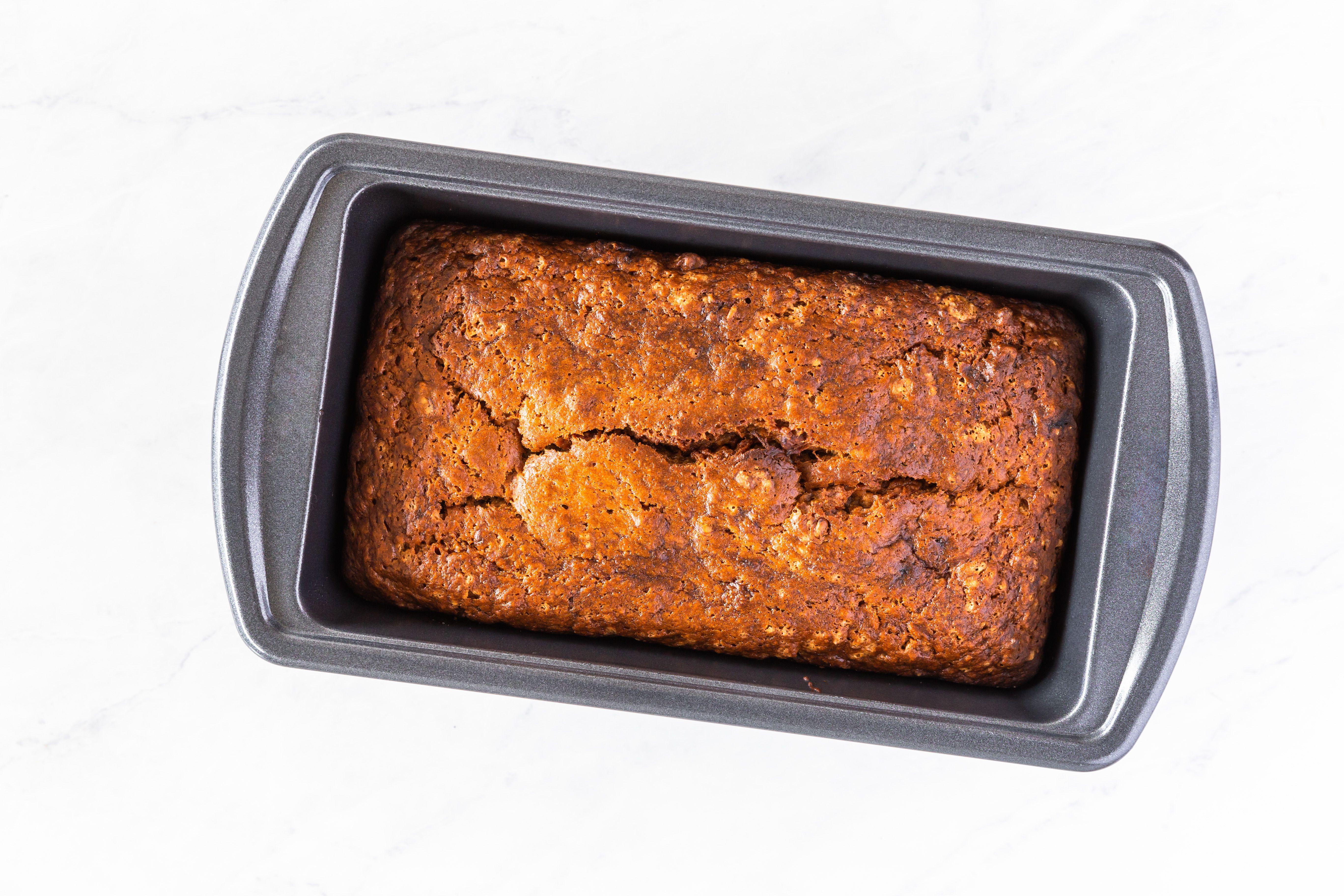 vegan banana bread in loaf pan