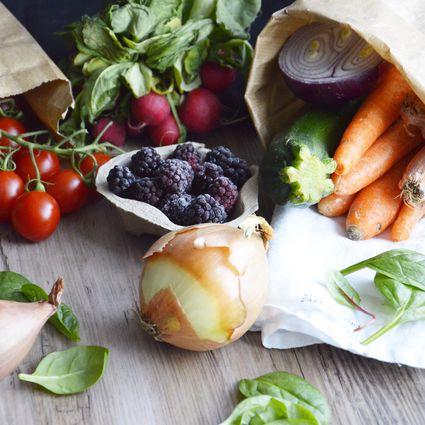 Spring vegetables and fruit