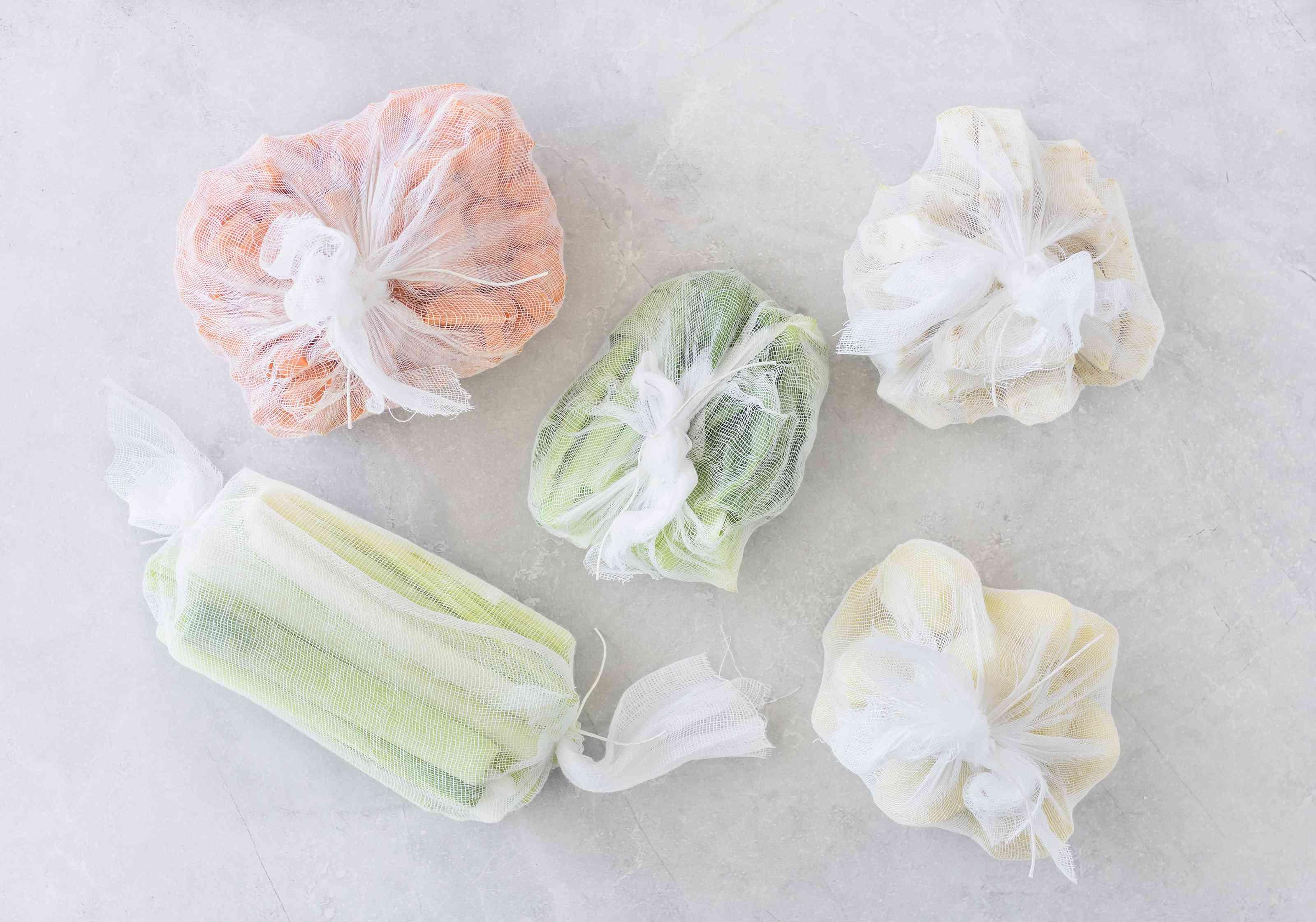 Wrap celery, carrots, leeks