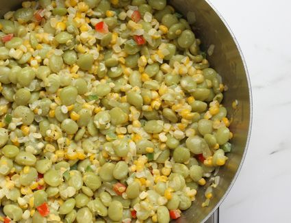 Succotash with lima beans, corn, and sweet bell peppers