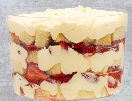 closeup of a layered strawberry trifle