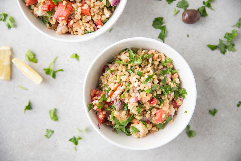 Easy Greek style barley salad