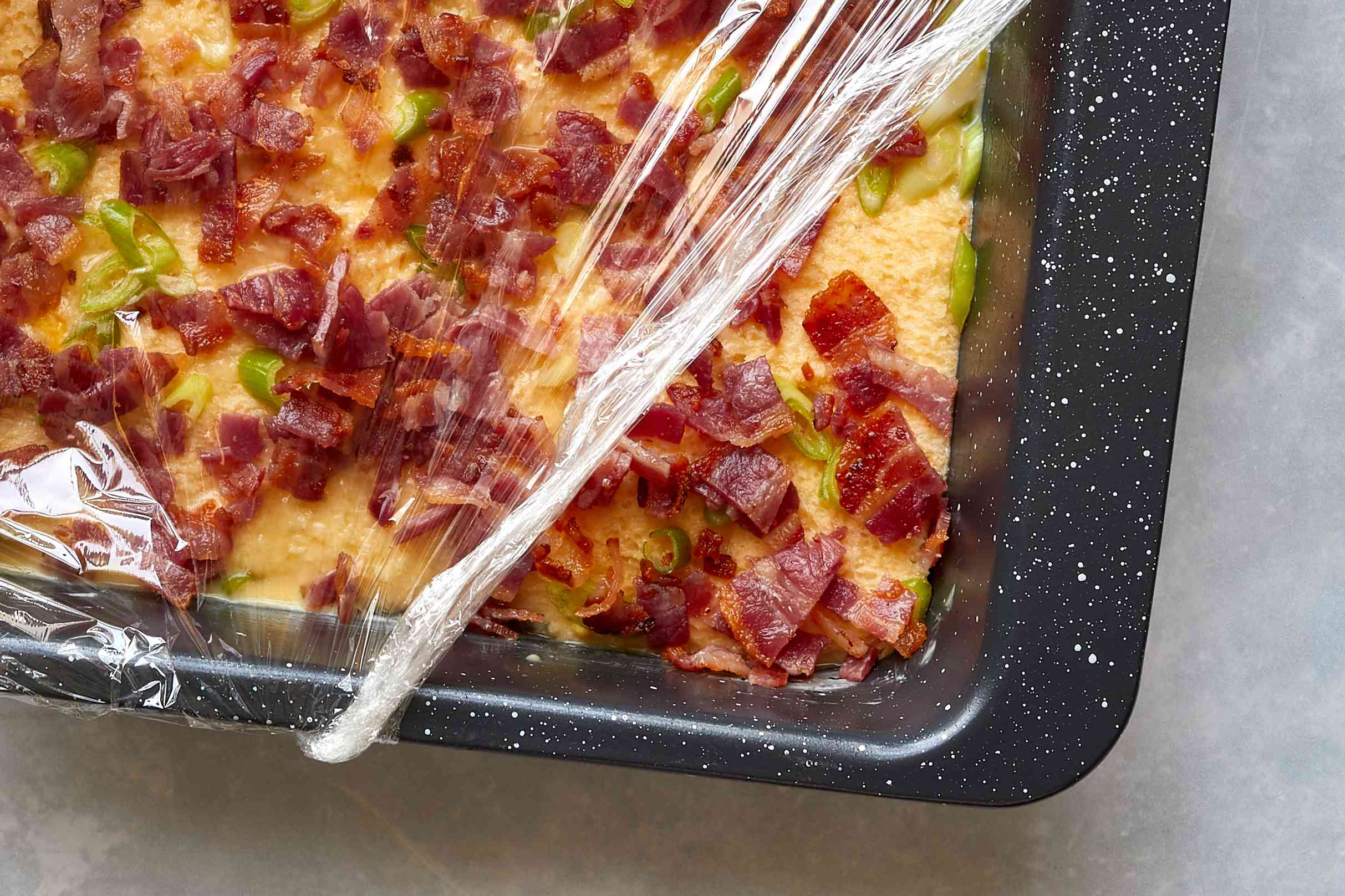 plastic removed from bacon and egg casserole dish