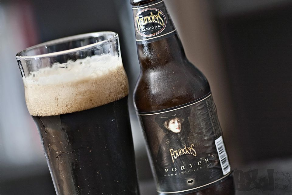 Founder's Porter, both in a bottle and a glass
