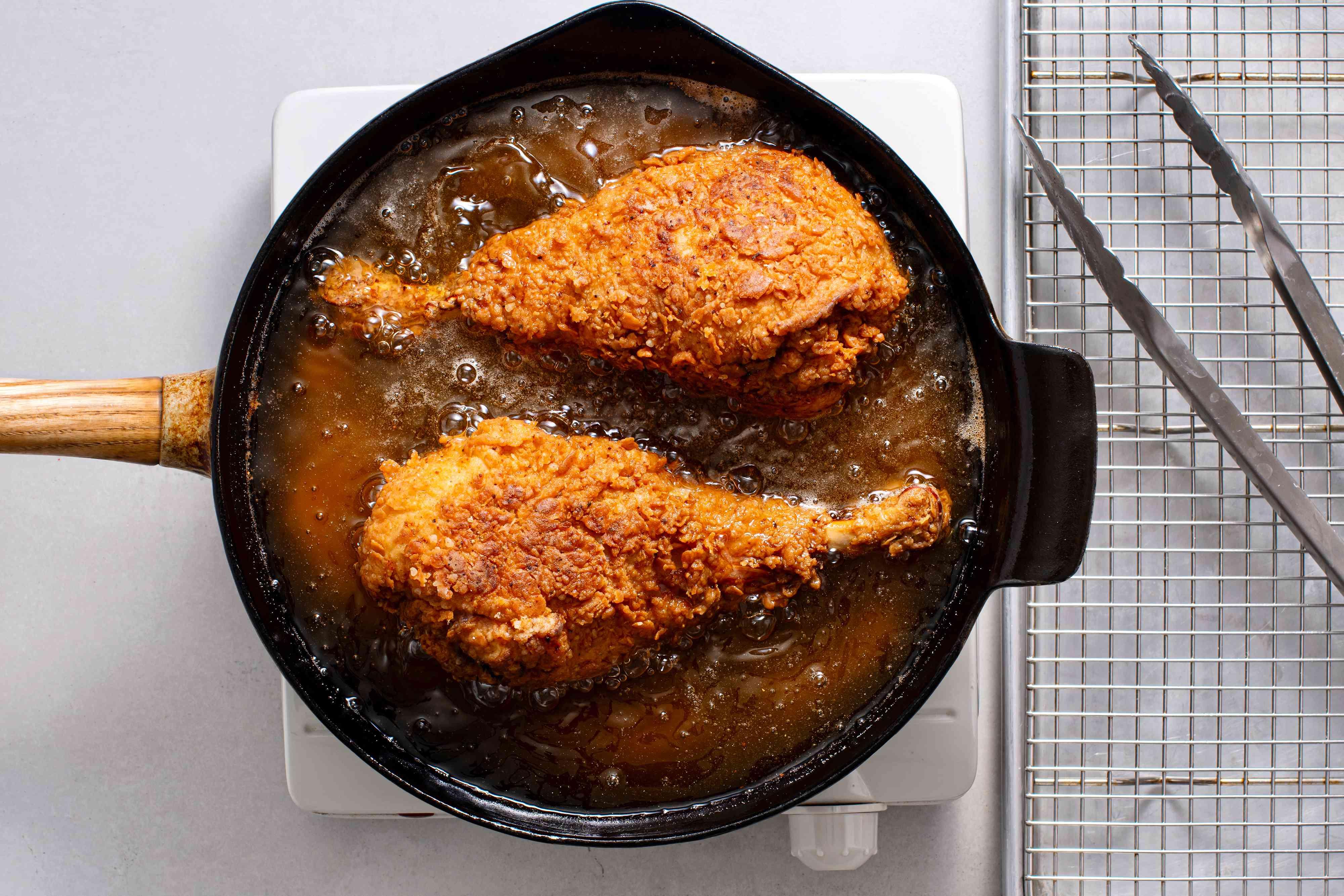turkey frying in a cast iron skillet