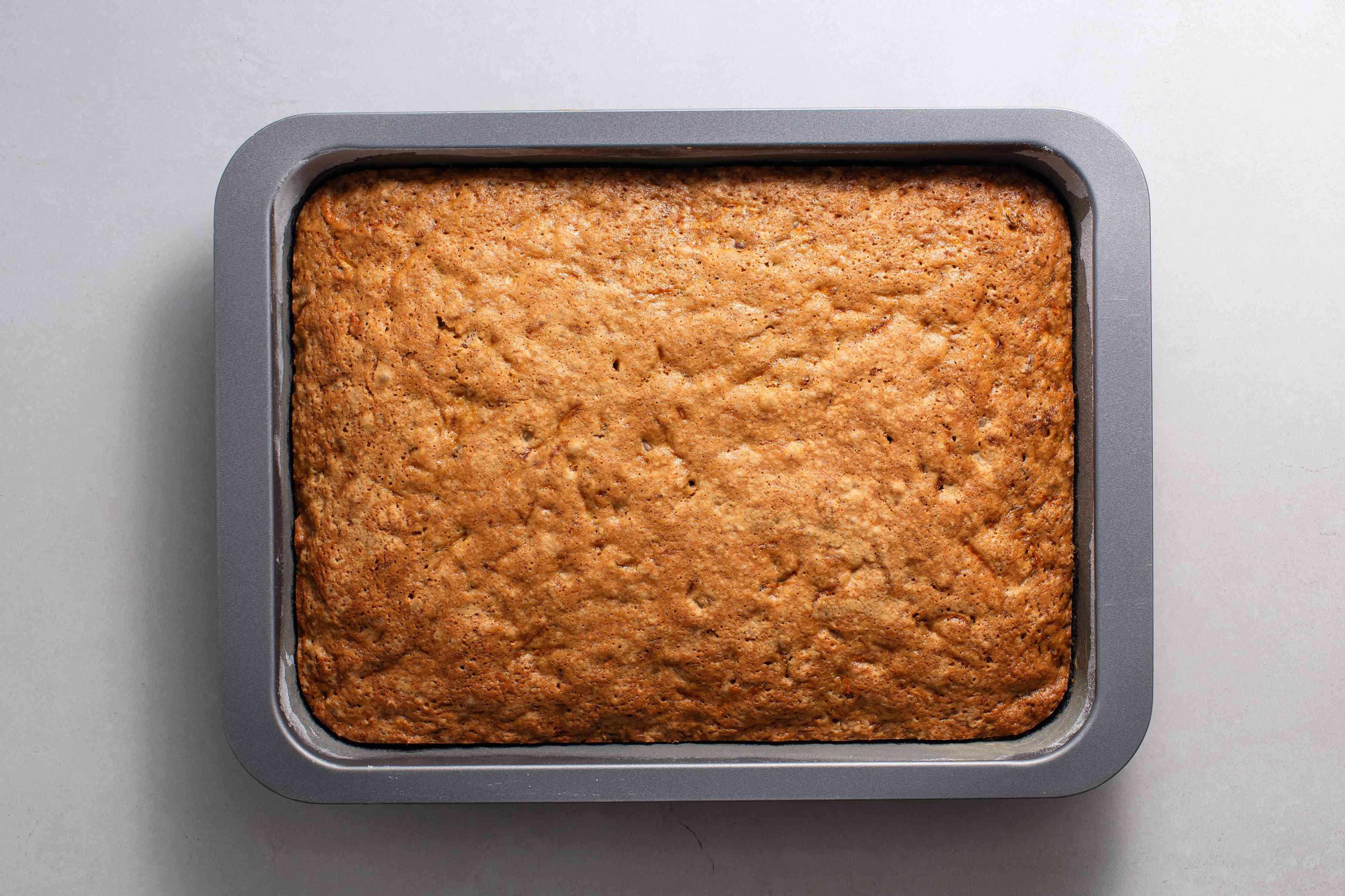 baked cake in a baking pan