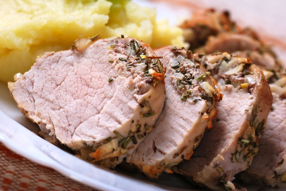Lean pork tenderloin crusted and cooked with thyme