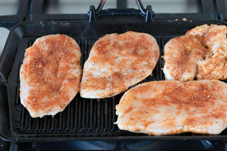 Chicken on griddle
