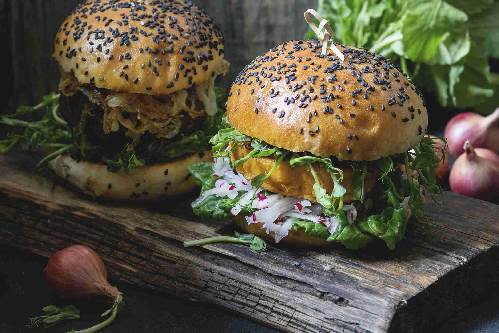 Vegetarian sweet potato burgers