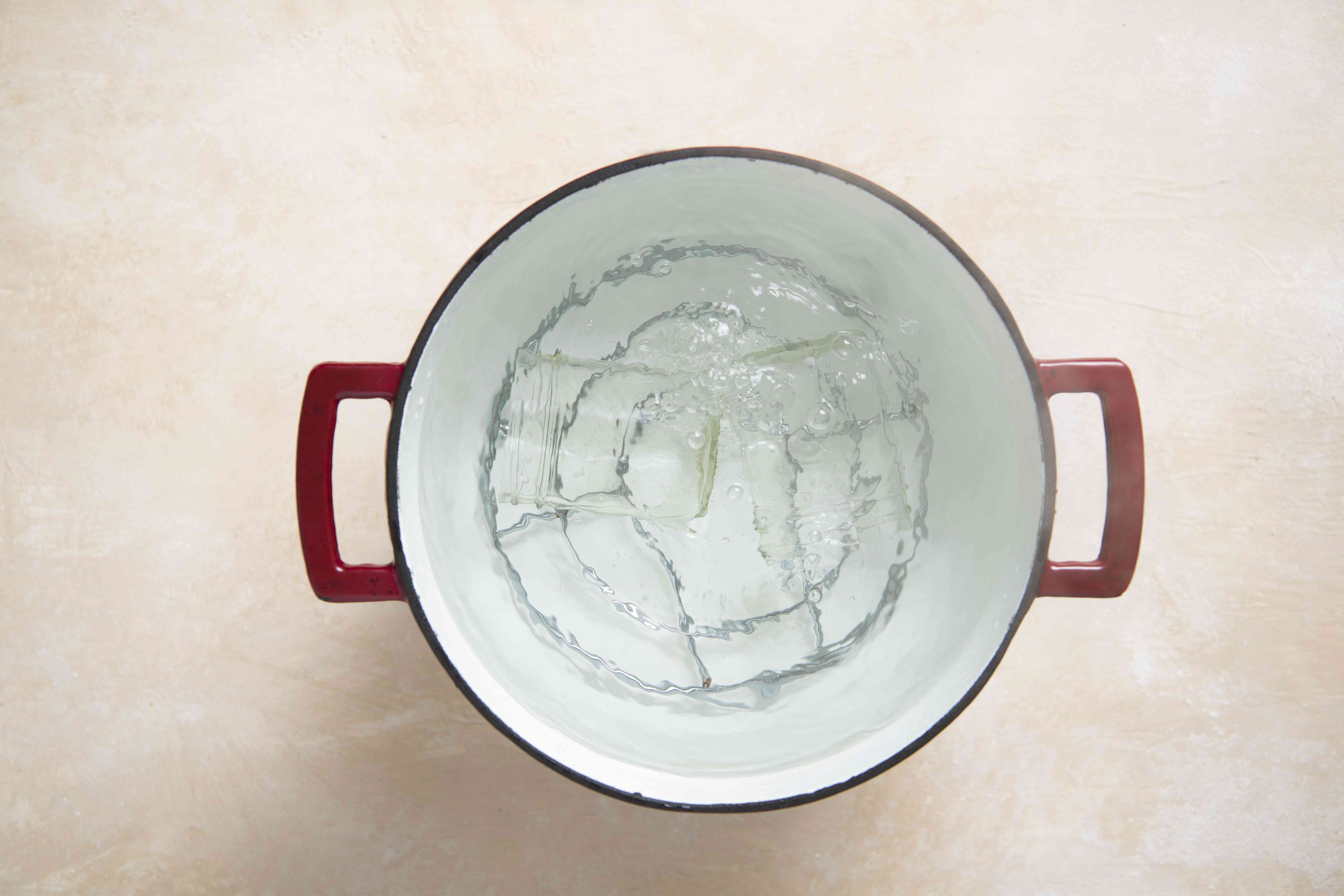 sterilize jars in a pot of boiling water