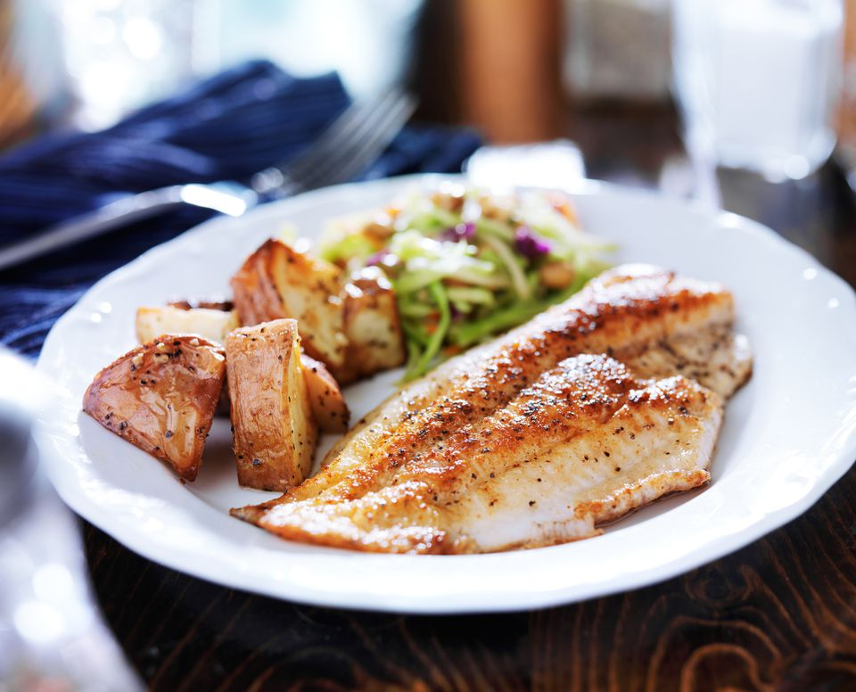 Tilapia fillet with slaw and potatoes